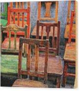 Thirteen Chairs Wood Print