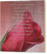 This Little Rose On Digital Linen Wood Print