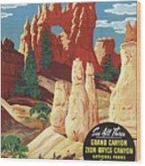 This Summer - Visit Bryce Canyon National Par, Utah, Usa - Retro Travel Poster - Vintage Poster Wood Print