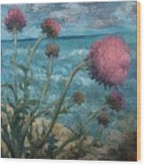 Thistles By The Sea Wood Print