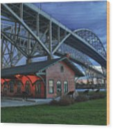 Thomas Edison Train Depot And Blue Water Bridges Wood Print