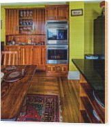 Thomas Kitchen With Old Fashioned Icebox And Refrigerator Wood Print