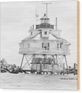 Thomas Point Lighthouse Wood Print by Laurie Williams
