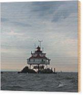 Thomas Point Shoal Lighthouse - Icon Of The Chesapeake Bay Wood Print