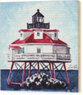 Thomas Point Shoal Lighthouse Annapolis Maryland Chesapeake Bay Light House Wood Print