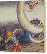 Thor Went Forth Against Jormungand Wood Print