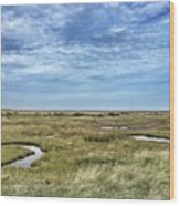 Thornham Marshes, Norfolk Wood Print