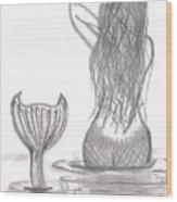 Thoughtful Mermaid Wood Print