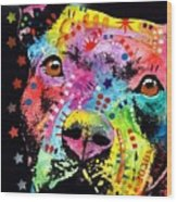 Thoughtful Pitbull I Heart U Wood Print by Dean Russo