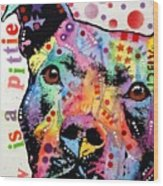 Thoughtful Pitbull Luv Is A Pittie Wood Print by Dean Russo