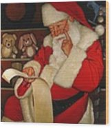 Thoughtful Santa Wood Print