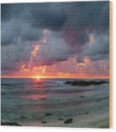 Threatening Sky Above The Caribbean Sea Off Isle De Mujeras' North Shore Wood Print