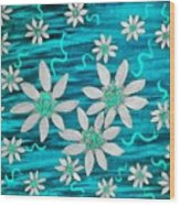 Three And Twenty Flowers On Blue Wood Print
