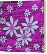 Three And Twenty Flowers On Pink Wood Print