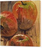 Three Apples Wood Print