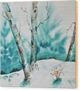 Three Aspens On A Snowy Slope Wood Print