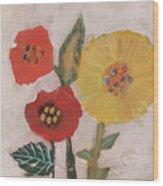 Three Awkward Flower Blossoms Wood Print