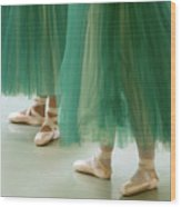 Three Ballerinas In Green Tutus Wood Print by Julia Hiebaum