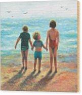 Three Beach Children Siblings  Wood Print