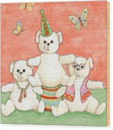 Three Bears Ready For The Party Wood Print