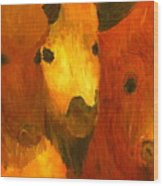 Three Bison Wood Print
