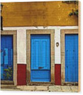 Three Blue Doors 1 Wood Print by Mexicolors Art Photography