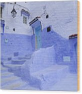 Three Blue Doors In Chefchaouen  Wood Print