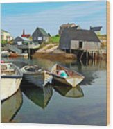 Three Boats At Peggys Cove Wood Print