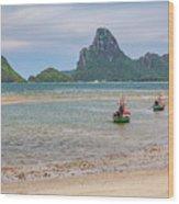 Three Boats Thailand Wood Print