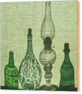 Three Bottles And A Lamp Wood Print