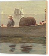 Three Boys In A Dory Wood Print