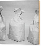 Three Brown Paper Lunch Bags Wood Print