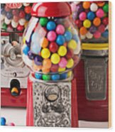 Three Bubble Gum Machines Wood Print