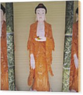 Three Buddha Statues Wood Print