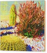 Three Cacti Wood Print