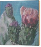 Three Cactus Blossoms Wood Print