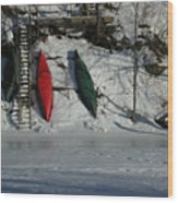 Three Canoes Wood Print