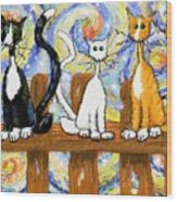 Three Cats On A Fence Wood Print