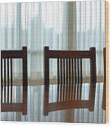 Three Chairs Reflection Wood Print