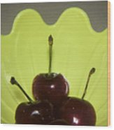 Three Cherries In Profile Wood Print