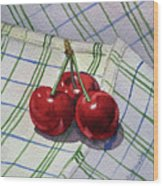 Three Sweet Cherries By Irina Sztukowski Wood Print