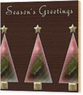 Three Christmas Trees Wood Print