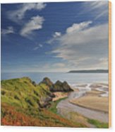 Three Cliffs Bay 4 Wood Print