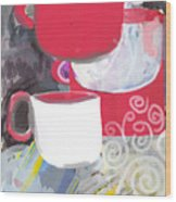 Three Coffee Cups Red And White Wood Print