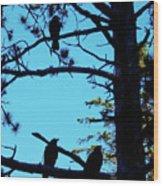 Three Crows In A Tree Wood Print