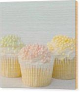 Three Cupcakes Wood Print