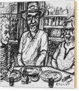 Three Diners Wood Print