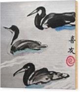 Three Ducks Wood Print