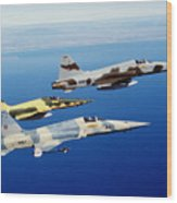 Three F-5e Tiger II Fighter Aircraft Wood Print