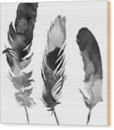 Three Feathers Silhouette Wood Print